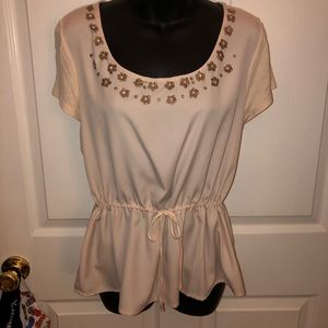 ELLE - top with embellishments added to neck line